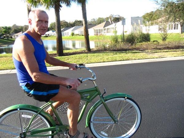 Older people on bicycles
